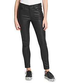 Coated Snake-Embossed Everywhere Skinny Jeans