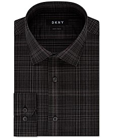 Men's Slim-Fit Performance Stretch Jaspé Plaid Dress Shirt