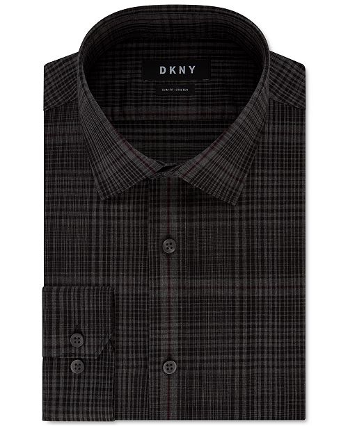 DKNY Men's Slim-Fit Performance Stretch Jaspé Plaid Dress Shirt