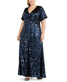 Plus Size Sequined Gown