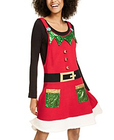Juniors' Holiday Elf Jumper Dress