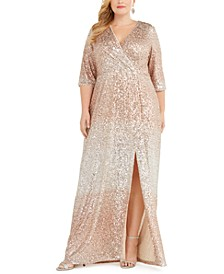 Plus Size Sequined Surplice Gown