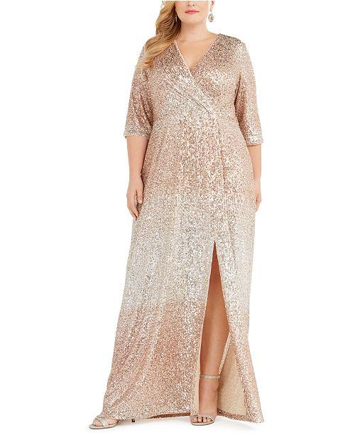 R & M Richards Plus Size Sequined Surplice Gown
