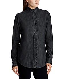 Ruffle-Trim Denim Shirt