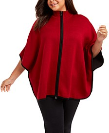Plus Size Zip-Up Poncho Sweater