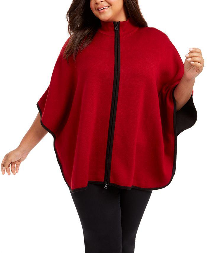 Anne Klein - Plus Size Zip-Up Poncho Sweater