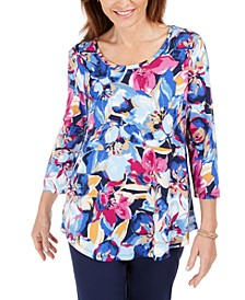 Ascension Flora Printed 3/4-Sleeve T-Shirt, Created for Macy's