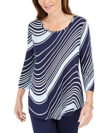 Swirl-Print 3/4-Sleeve T-Shirt, Created For Macy's
