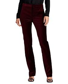 Stretch Velvet Straight Pants