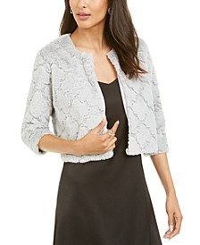 Petite Patterned Faux-Fur Shrug