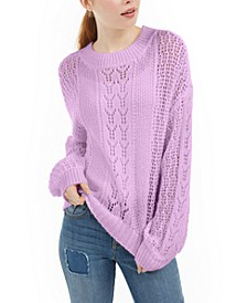 Juniors' Striped Balloon-Sleeve Sweater