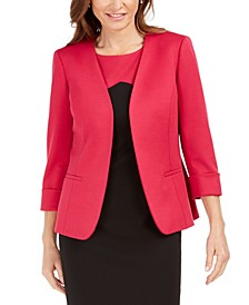 Collarless 3/4-Sleeve Blazer