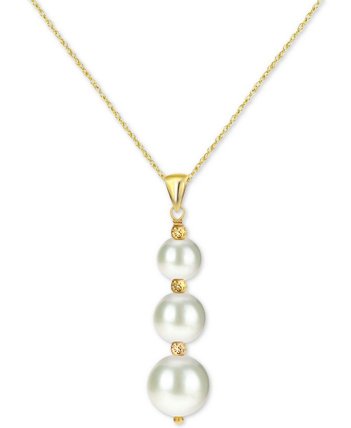 """Macy's - Cultured Freshwater Pearl (6 to 9mm) Graduated 18"""" Pendant Necklace in 14k Gold"""