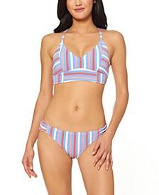 Miami Stripe Midkini Bikini Top & Side Shirred Hipster Bottom