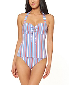Miami Stripe Printed Underwire Halter Tankini Top & Side Shirred Hipster Bottoms