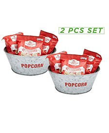 2 Pack Galvanized Popcorn Serving Bowl