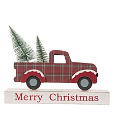 """11.81"""" L Christmas Wooden Truck Table Decor"""