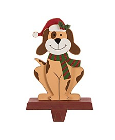 "7.76"" H Wooden Dog Stocking Holder"