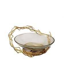 Centerpiece Bowl with Gold Tone Twig Design