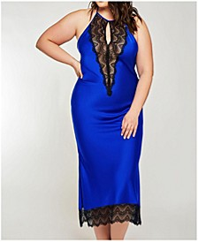 Plus Size Tess Satin Long Chemise Nightgown, Online Only