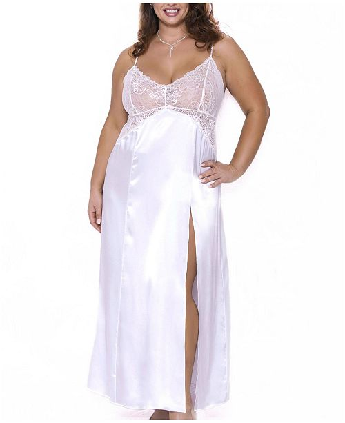 iCollection Plus Size Julia Long Chemise Nightgown, Online Only