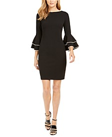 Embellished Bell-Sleeve Sheath Dress