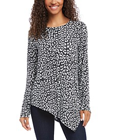 Asymmetrical Leopard-Print Top