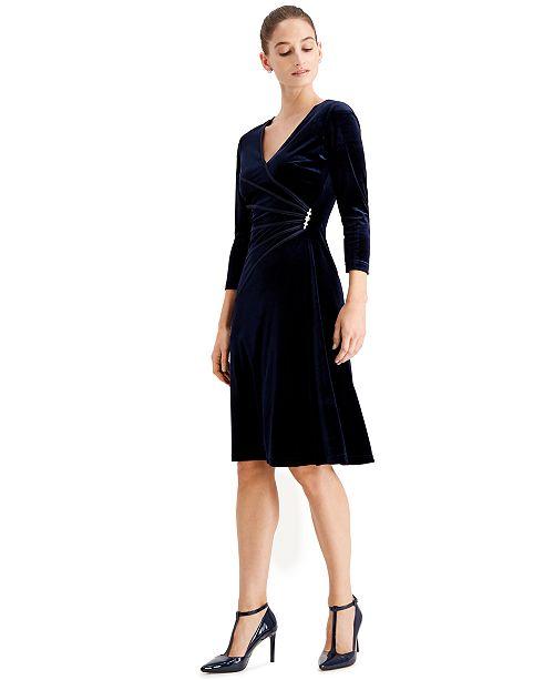 Connected Velvet Rhinestone-Brooch Dress
