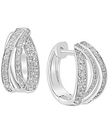 EFFY® Diamond Multi-Dimension Small Hoop Earrings (3/8 ct. t.w.) in 14k White Gold, .5""