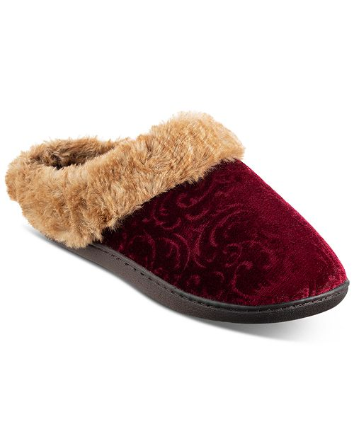 Isotoner Signature Women's Boxed Patterned Velour Hoodback Slippers