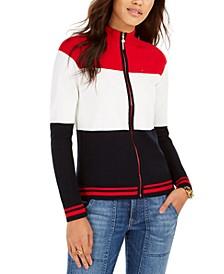 Tricolor Mock-Neck Zip Sweater