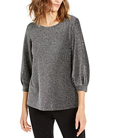 Metallic-Knit Bishop-Sleeve Top, Created For Macy's
