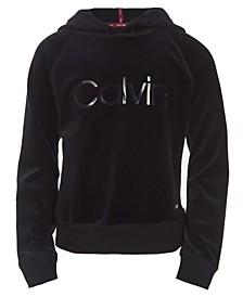 Calvin Klein Big Girls Velour Logo-Print Hoodie