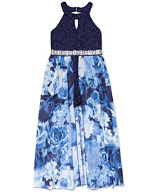 Big Girls Glitter-Lace Walk-Through Maxi Dress