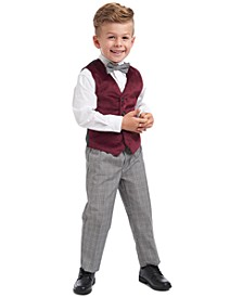 Toddler Boys Regular-Fit 4-Pc. Burgundy Velvet Vest Set