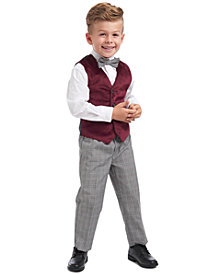 Nautica Toddler Boys Regular-Fit 4-Pc. Burgundy Velvet Vest Set