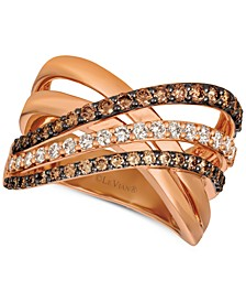 Creme Brulee® Diamond Crisscross Ring (1-1/6 ct. t.w.) in 14k Rose Gold