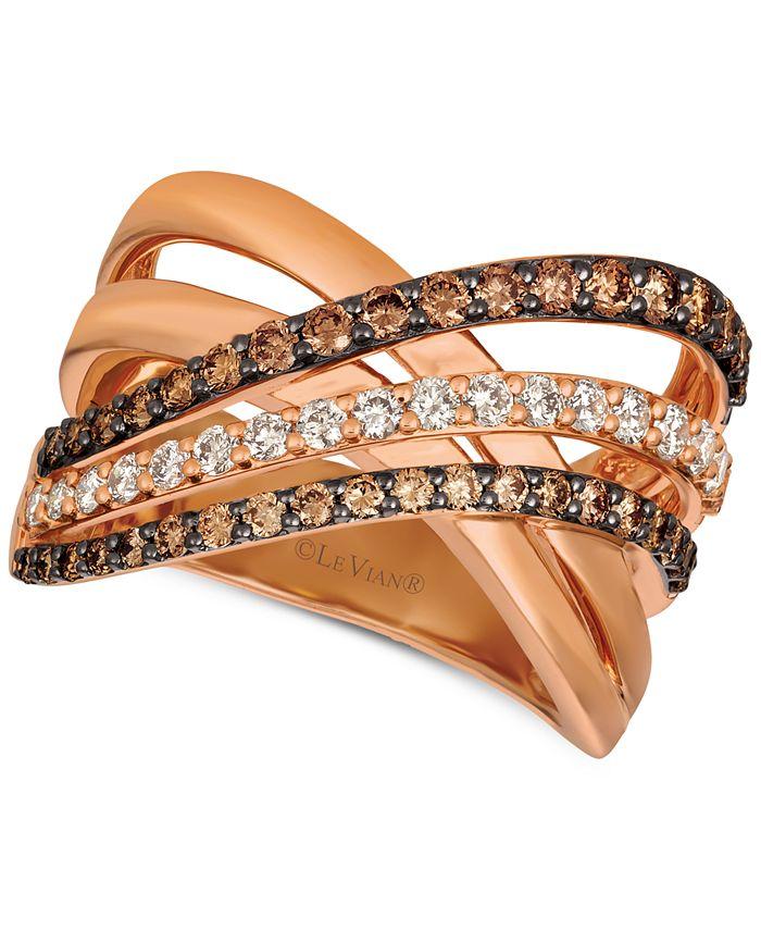 Le Vian - Diamond Crisscross Ring (1-1/6 ct. t.w.) in 14k Rose Gold