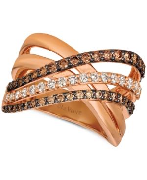 Creme Brulee Diamond Crisscross Ring (1-1/6 ct. t.w.) in 14k Rose Gold