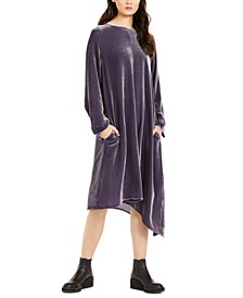 Asymmetric-Hem Velvet Dress