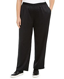 Plus Size Satin Straight-Leg Pants