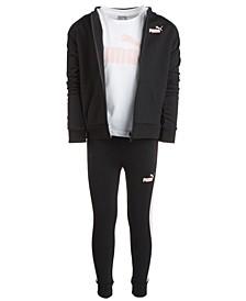 Little Girls 3-Pc. Fleece Zip-Up Jacket, T-Shirt & Pants Set