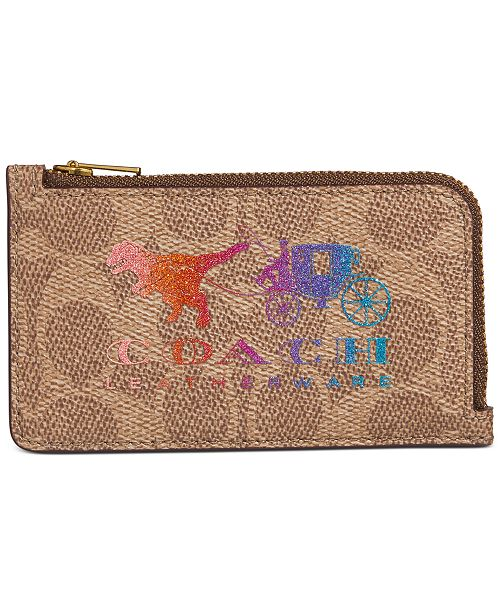 COACH Coated Canvas Signature Rexy and Carriage Zip Card Case