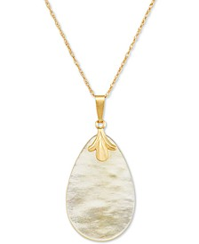 """Mother-of-Pearl Teardrop 18"""" Pendant Necklace in 10k Gold"""
