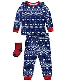 Baby & Toddler Boys 3-Pc. Reindeer-Print Pajamas & Socks Set