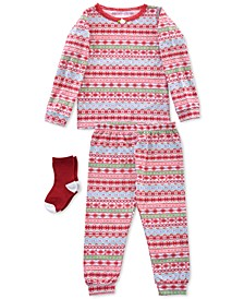 Baby & Toddler Girls 3-Pc. Printed Pajamas & Socks Set