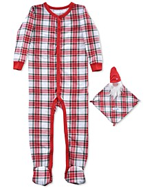 Baby Girls 2-Pc. Footed Plaid Pajama & Santa Blankie Baby Set