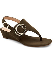 Women's Step 'N Flex Tatumm Buckle Thong Wedge Sandals, Created For Macy's