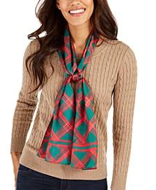 Holiday Plaid Silk Oblong Scarf