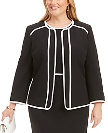 Plus Size Piped Crepe Flyaway Jacket